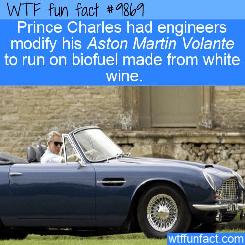fun fact royal aston martin runs on wine