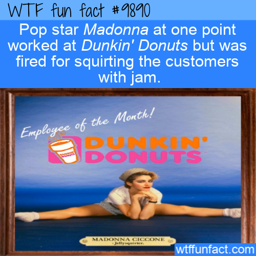 fun fact singer Madonna fired from Dunkin Donuts