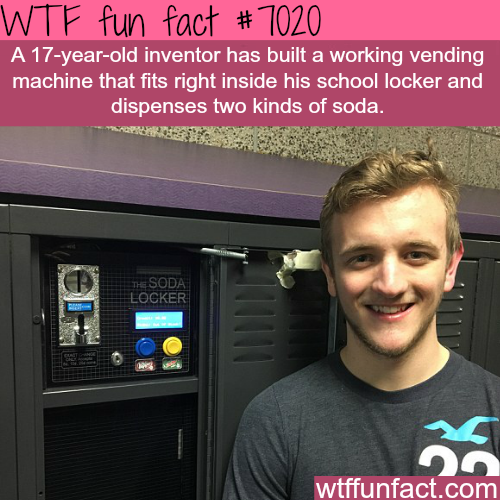 17-year-old has a vending machine in his school's locker - WTF fun facts