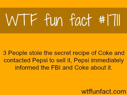 3 people stole the secret recipe of Coke -WTF fun facts