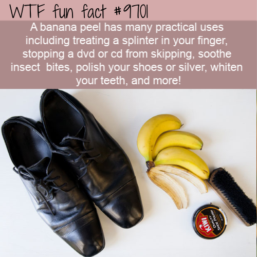 A banana peel has many practical uses including treating a splinter in your finger