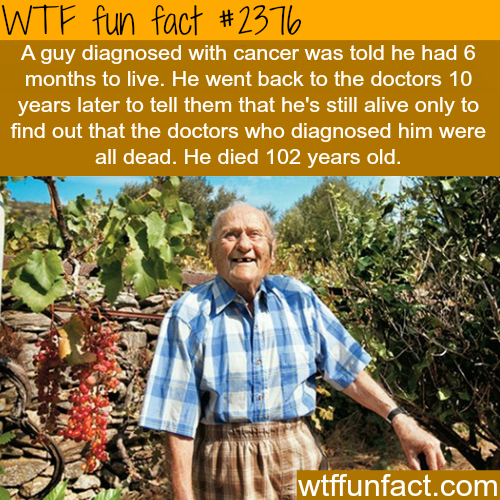 A man diagnosed with cancer lives till 102 -WTF funfacts
