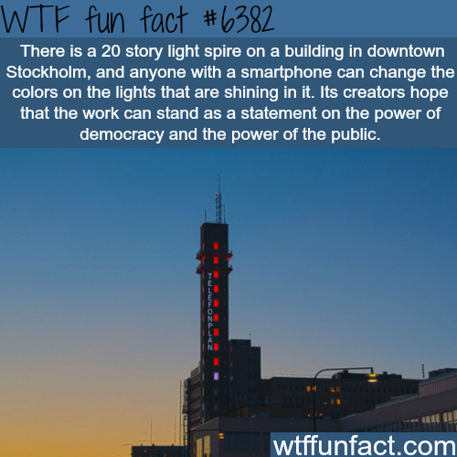 Anyone can change the light colors on this Stockholm building - WTF fun facts