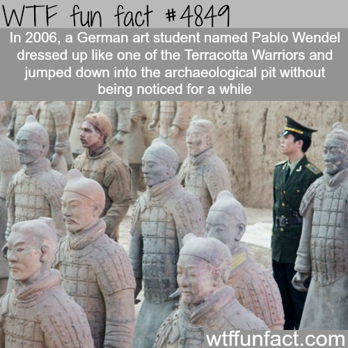 Art student Pablo Wendel dressed as a Terracotta Warrior - WTF fun facts
