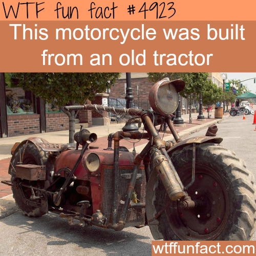 Awesome motorcycle built from an old tractor - WTF fun facts
