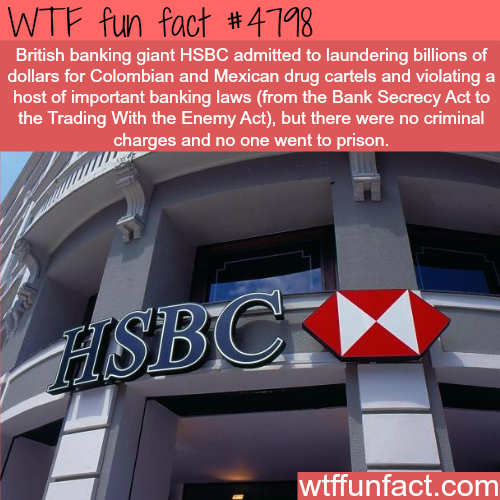 Banking giants HSBC helped drug cartels to launder money - WTF fun facts