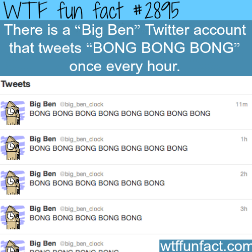 Big Ben Clock Twitter page -  WTF fun facts
