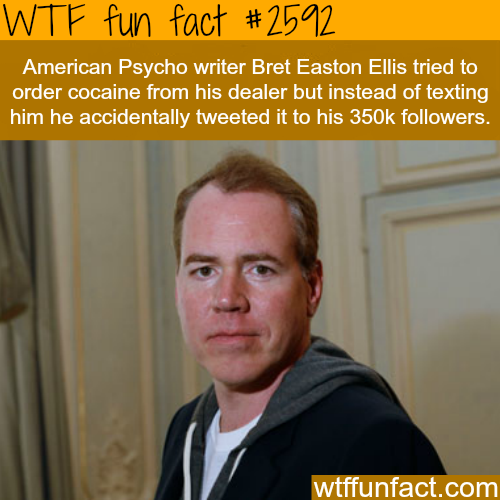 Bret Easton Ellis tweet about cocaine - WTF fun facts