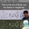brian lai art negatives drawing