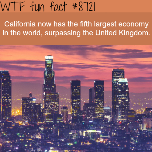 California became the fifth largest economy in the world - WTF fun facts
