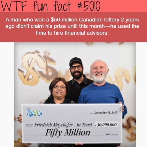 Canadian won $50 million in lottery