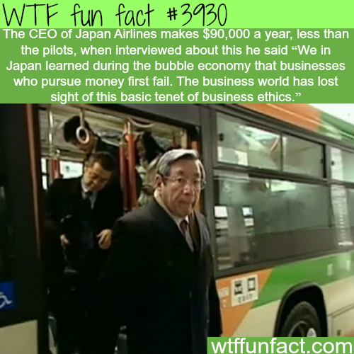 CEO of Japan Airlines makes less than the pilots - WTF fun facts