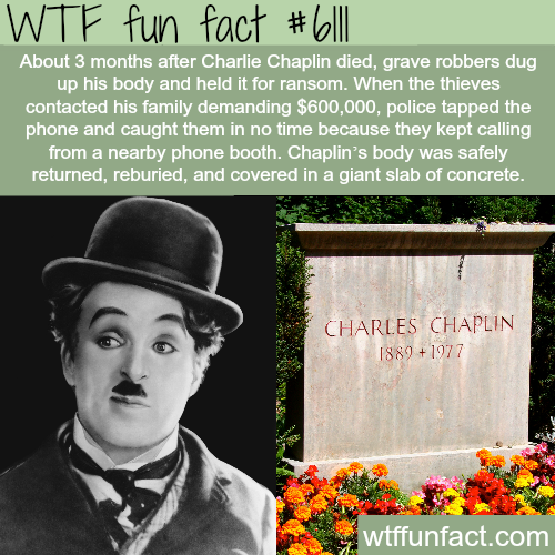 Charlie Chaplin's grave  - WTF fun facts