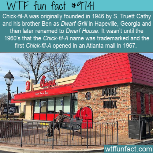Chick-fil-A was originally founded in 1946 by S. Truett Cathy and his brother Ben as Dwarf Grill in Hapeville
