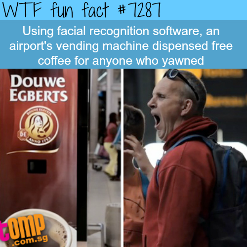 Coffee vending machine that gives you free coffee if you yawn