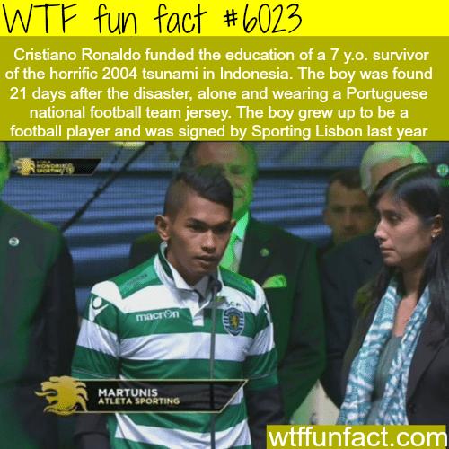 Cristiano Rolando funded the education of this tsunami survivor - WTF fun facts