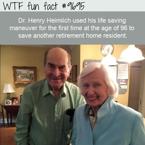Dr. Henry Heimlich used his life saving maneuver for the first time at the age of 96 to save another retirement home resident.