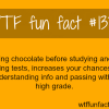 eating chocolate before a taking a test food facts