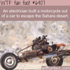 electrician built a motorcycle out of a car wtf