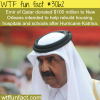 emir of qatar donated 100 million dollars to katrina vic