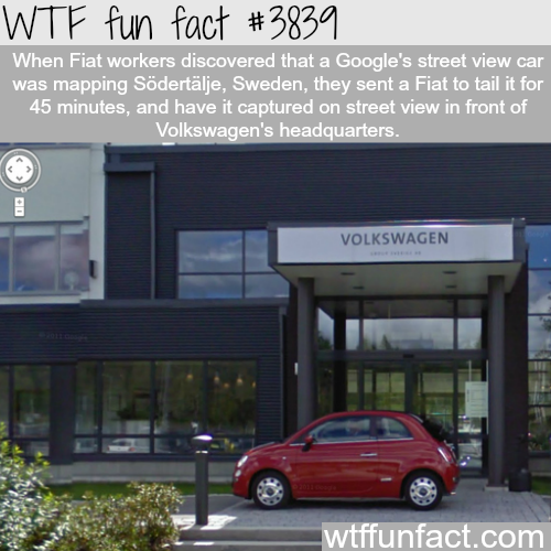 Fiat workers prank Volkswagen on google maps - WTF fun facts