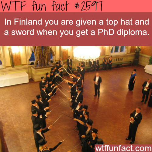 Finland's PhD swords and top hat - WTF fun facts