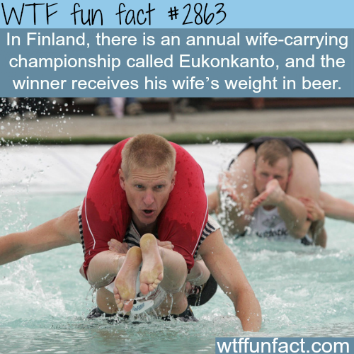 "Finland's Wife-carrying championship ""Eukonkanto"" -  WTF fun facts"