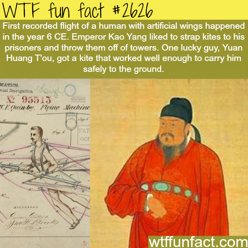 First recorded flight in history - WTF fun facts