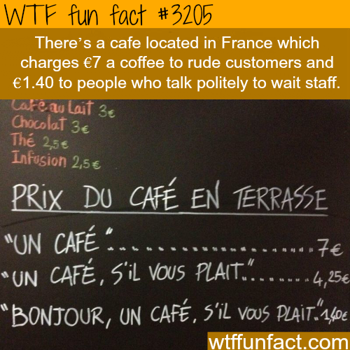 French Cafe that charges more for rude customers -  WTF fun facts