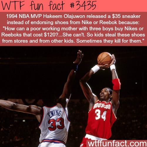 Hakeem Olajuwon's $35 sneaker - WTF fun facts