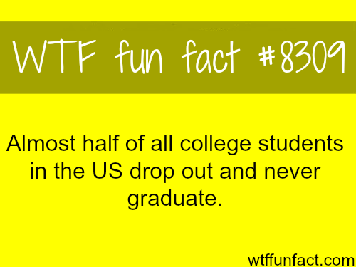 Half of college students in the US drop out - WTF fun facts