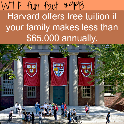 Harvard free tuition - WTF Fun Facts