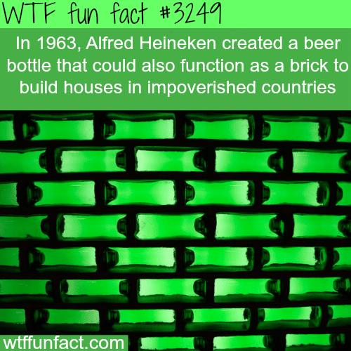 Heineken beer bottles that work as a brick -WTF fun facts