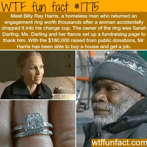 Homeless man returns a diamond ring -WTF fun facts