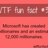 how many millionaires microsoft has created