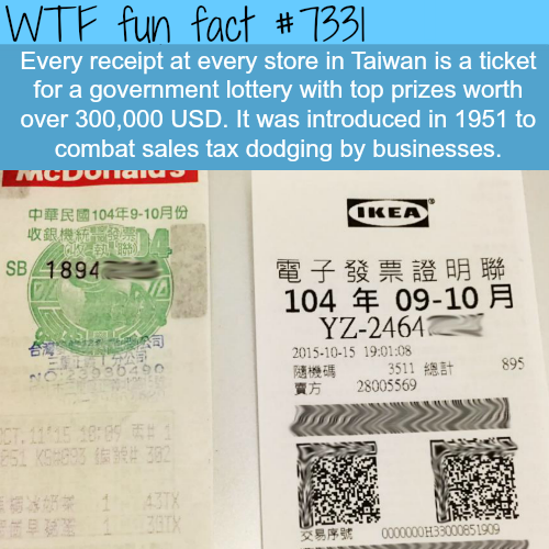 How Taiwan combats sales tax dodging - WTF fun fact