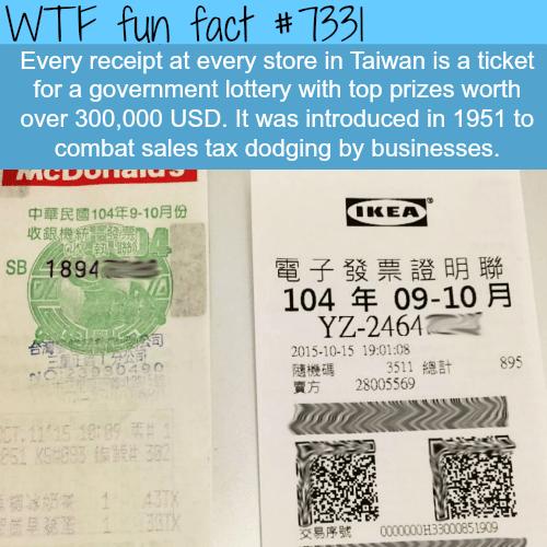 How Taiwan combats sales tax dodging - WTF fun fact