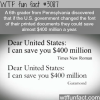 how to save the united states 400 million dollars