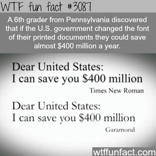 How to save the United States 400 million dollars -  WTF fun facts