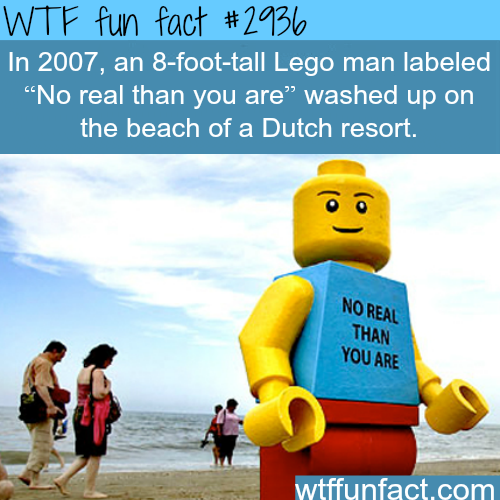 Huge lego man washed on the beach of a dutch resort -  WTF fun facts