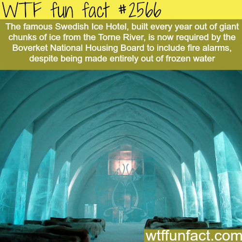 Ice Hotel in Sweden have to put fire alarms -WTF funfacts