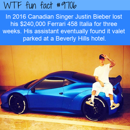 In 2016 Canadian Singer Justin Bieber lost his $240