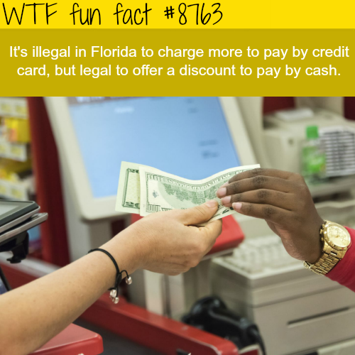 It's illegal to charge more forcredit card usage in Florida - WTF fun facts