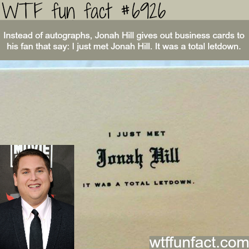 Jonah Hill's business cards - WTF fun fact
