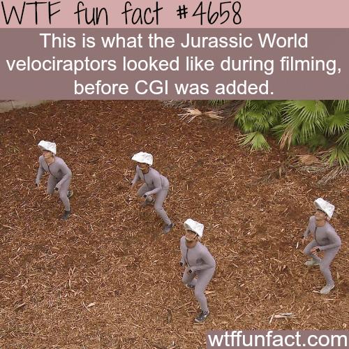Jurassic World velociraptors before CGI - WTF fun facts
