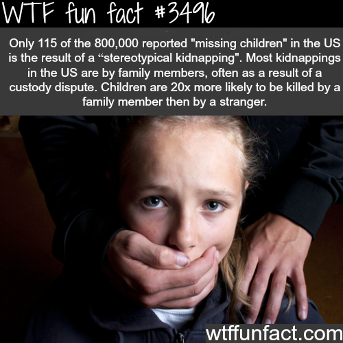 Kidnapping in the USA is done mostly by family -  WTF fun facts