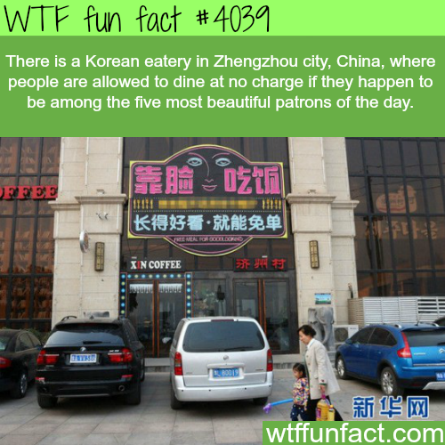 Korean eatery where they give free food for good looking people - WTF fun facts