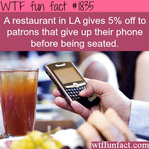 LA restaurant discount -WTF fun facts