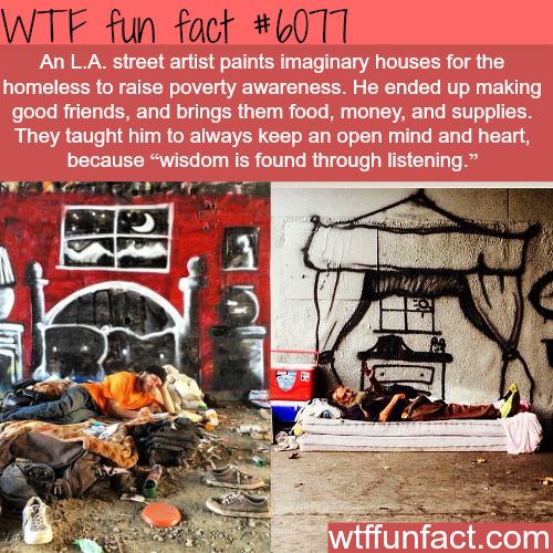 LA street artists paints imaginary houses for the homeless to raise awareness - WTF fun facts
