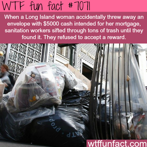 Long Island woman threw away an envelope with $5000 - WTF fun facts